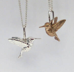 Anna's Hummingbird necklace in sterling silver or bronze handmade by Joanna Lovett Sterling